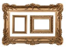 3个装饰空的框架金照片墙壁 免版税库存图片