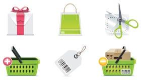 3个要素图标零件集合购物向量 免版税库存照片