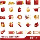 3个金图标红色集 免版税图库摄影
