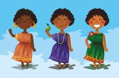 3个非洲漫画人物逗人喜爱的女孩 库存照片