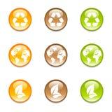 3个颜色地球图标回收 库存例证