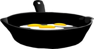 3个鸡蛋油煎了例证 免版税库存图片