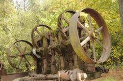 3个齿轮设备开采葡萄酒 库存图片