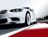 3个bmw小汽车赛系列白色 库存例证