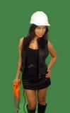 3亚裔美丽的建筑女性工作者 免版税库存照片