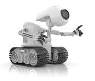 3人为未来派智能机器人谈话 库存照片