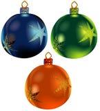 3件圣诞节装饰品卷 免版税库存图片