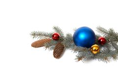 3分行圣诞节装饰杉树 免版税库存图片