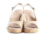 3只专利s凉鞋楔住妇女 免版税库存图片