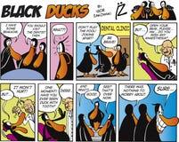 3只黑色可笑的鸭子情节主街上 免版税库存照片