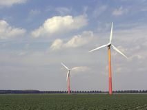 3台现代风车 库存图片