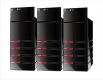 3台计算机红色服务器 免版税库存图片