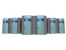 3台3d蓝色服务器 向量例证