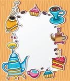 3咖啡逗人喜爱的框架 皇族释放例证