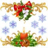 3圣诞节设计元素集 库存例证