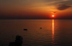 3在日出的海湾 免版税库存照片