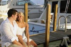 3对夫妇码头 免版税库存照片