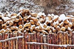 3干燥firewoods雪 免版税图库摄影