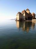 3座城堡ch chillon montreux 库存图片