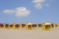 3张海滩睡椅 图库摄影