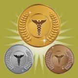 3把众神使者的手杖医疗集合符号 免版税库存图片