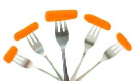 3把红萝卜叉子 库存图片