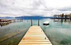 3日内瓦木湖的码头 库存图片
