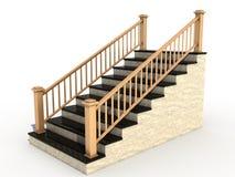 3木扶手栏杆大理石的楼梯 皇族释放例证
