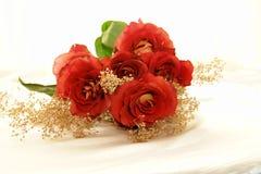 3朵杂种玫瑰 库存照片
