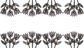 3朵花框架木头 免版税图库摄影