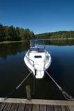 3条小船码头瑞典 免版税图库摄影