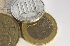 3枚硬币替换 库存图片