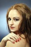3根头发红色肉欲的射击工作室妇女 库存照片