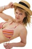 3比基尼泳装金发碧眼的女人帽子 库存照片