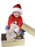 3男孩圣诞老人 库存照片