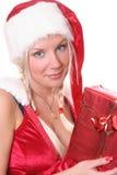 3白肤金发的女孩性感的圣诞老人 免版税图库摄影