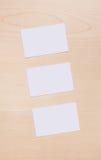 3空白名片木头 免版税图库摄影