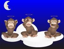 3罪恶听到没有的猴子发现告诉 库存例证