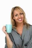 3美好饮料金发碧眼的女人享用热 库存照片