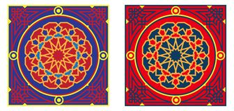 3蓝色埃及织品模式红色帐篷 免版税库存照片