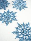3蓝色雪花 免版税库存照片