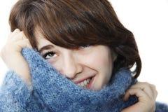 3蓬松女孩毛线衣 库存图片