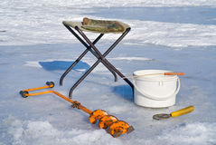 3设备捕鱼冰 库存照片