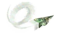 3货币纸飞机 库存照片