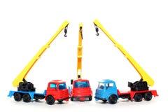 3辆贝得福得起重机塑料卡车 免版税库存图片