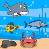 3部动画片生活海洋 库存例证