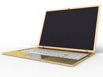 3金黄膝上型计算机 免版税库存图片