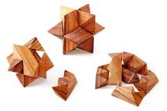 3 łamigłówek drewna Obraz Royalty Free
