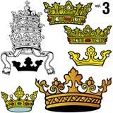3 βασιλικές εντάσεις κορωνών Στοκ Εικόνες