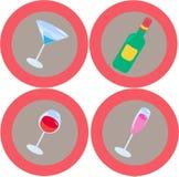 3 εικονίδια αλκοόλης Στοκ Εικόνα